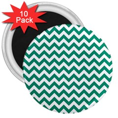 Emerald Green & White Zigzag Pattern 3  Magnet (10 Pack) by Zandiepants