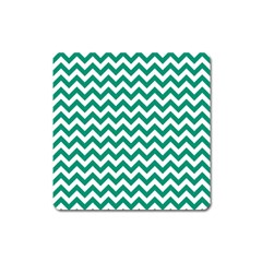 Emerald Green & White Zigzag Pattern Magnet (square) by Zandiepants