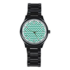 Emerald Green & White Zigzag Pattern Stainless Steel Round Watch by Zandiepants
