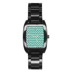 Emerald Green & White Zigzag Pattern Stainless Steel Barrel Watch by Zandiepants