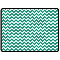 Emerald Green & White Zigzag Pattern Fleece Blanket (large) by Zandiepants