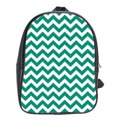 Emerald Green & White Zigzag Pattern School Bag (xl) by Zandiepants