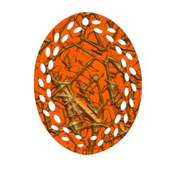 Thorny Abstract, Orange Oval Filigree Ornament (2 Side)  by MoreColorsinLife