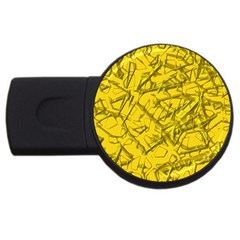 Thorny Abstract,golden Usb Flash Drive Round (4 Gb)  by MoreColorsinLife
