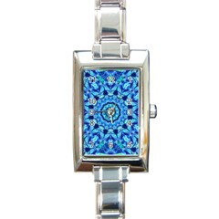 Blue Sea Jewel Mandala Rectangle Italian Charm Watch by Zandiepants