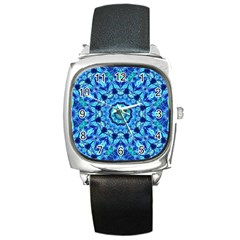 Blue Sea Jewel Mandala Square Metal Watch by Zandiepants