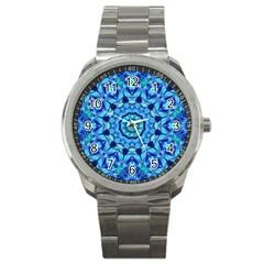 Blue Sea Jewel Mandala Sport Metal Watch by Zandiepants
