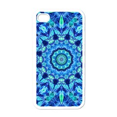 Blue Sea Jewel Mandala Apple Iphone 4 Case (white) by Zandiepants