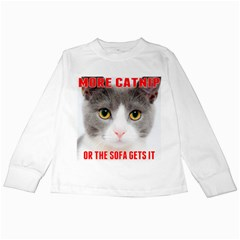 More Catnip Or The Sofa Gets It By Ignatius Rake Kids Long Sleeve T-Shirts by RakeClag