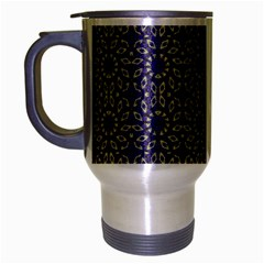 Stylized Floral Check Travel Mug (silver Gray) by dflcprints