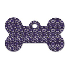 Stylized Floral Check Dog Tag Bone (two Sides) by dflcprints