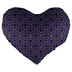 Stylized Floral Check Large 19  Premium Heart Shape Cushions by dflcprints
