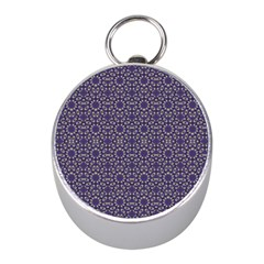 Stylized Floral Check Mini Silver Compasses by dflcprints
