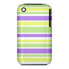 Yellow Purple Green Stripes Apple Iphone 3g/3gs Hardshell Case (pc+silicone) by BrightVibesDesign