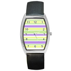 Yellow Purple Green Stripes Barrel Style Metal Watch by BrightVibesDesign