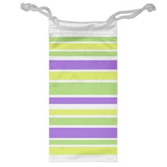 Yellow Purple Green Stripes Jewelry Bags by BrightVibesDesign