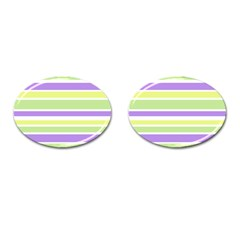 Yellow Purple Green Stripes Cufflinks (Oval) by BrightVibesDesign