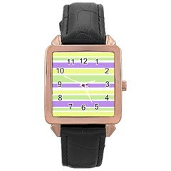 Yellow Purple Green Stripes Rose Gold Leather Watch  by BrightVibesDesign