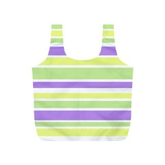 Yellow Purple Green Stripes Full Print Recycle Bags (s)  by BrightVibesDesign