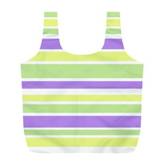 Yellow Purple Green Stripes Full Print Recycle Bags (L)  by BrightVibesDesign