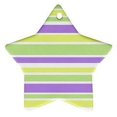 Yellow Purple Green Stripes Ornament (Star)  by BrightVibesDesign