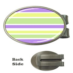 Yellow Purple Green Stripes Money Clips (oval)  by BrightVibesDesign