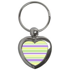 Yellow Purple Green Stripes Key Chains (Heart)  by BrightVibesDesign