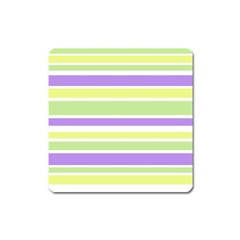 Yellow Purple Green Stripes Square Magnet by BrightVibesDesign