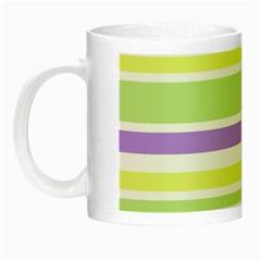 Yellow Purple Green Stripes Night Luminous Mugs by BrightVibesDesign