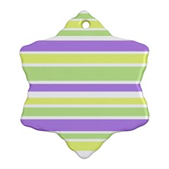 Yellow Purple Green Stripes Snowflake Ornament (2-Side) by BrightVibesDesign