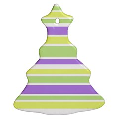 Yellow Purple Green Stripes Christmas Tree Ornament (2 Sides) by BrightVibesDesign