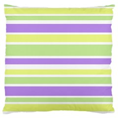 Yellow Purple Green Stripes Large Cushion Case (two Sides) by BrightVibesDesign