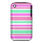Pink Green Stripes Apple iPhone 3G/3GS Hardshell Case (PC+Silicone)