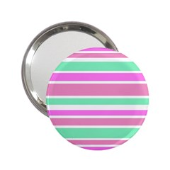 Pink Green Stripes 2.25  Handbag Mirrors by BrightVibesDesign
