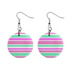Pink Green Stripes Mini Button Earrings by BrightVibesDesign