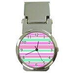 Pink Green Stripes Money Clip Watches