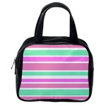 Pink Green Stripes Classic Handbags (One Side)
