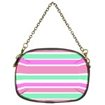 Pink Green Stripes Chain Purses (One Side)