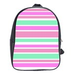 Pink Green Stripes School Bags(Large)