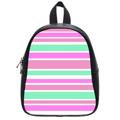 Pink Green Stripes School Bags (small)  by BrightVibesDesign