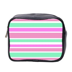 Pink Green Stripes Mini Toiletries Bag 2 Side by BrightVibesDesign
