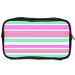 Pink Green Stripes Toiletries Bags 2-Side