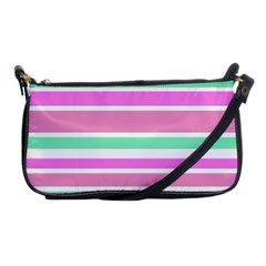 Pink Green Stripes Shoulder Clutch Bags by BrightVibesDesign