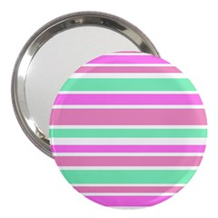 Pink Green Stripes 3  Handbag Mirrors by BrightVibesDesign