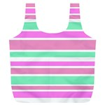 Pink Green Stripes Full Print Recycle Bags (L)