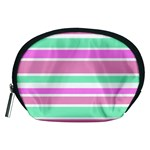 Pink Green Stripes Accessory Pouches (Medium)
