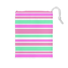 Pink Green Stripes Drawstring Pouches (large)  by BrightVibesDesign