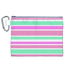 Pink Green Stripes Canvas Cosmetic Bag (xl)  by BrightVibesDesign