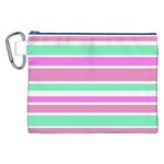 Pink Green Stripes Canvas Cosmetic Bag (XXL)