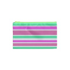 Pink Green Stripes Cosmetic Bag (xs) by BrightVibesDesign